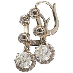 Platinum and 2 Carat Diamonds Antique French Earrings