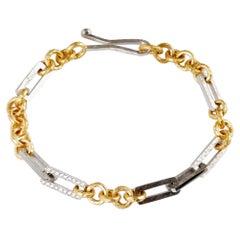 Platinum and 22 Karat Gold Handmade Brilliant Cut Diamond Link Bracelet