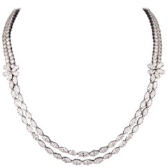 Platinum and 30 Carat Diamonds French Necklace