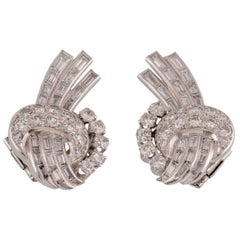 Platinum and 5 Carat Mixed Cut Diamond Comet Earrings
