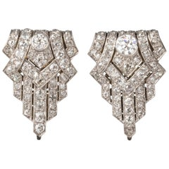 Platinum and 6 Carat Diamonds French Art Deco Clips Brooches