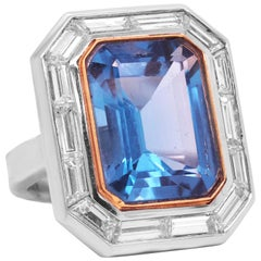 Platinum and Baguette Cut Diamond Ring with Blue Topaz Center