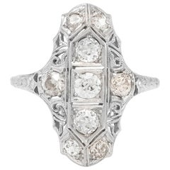 Platinum and Diamonds Art Deco Long Setting Ring