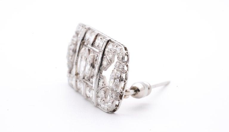 Round Cut Platinum and Diamond Art Deco Pin For Sale
