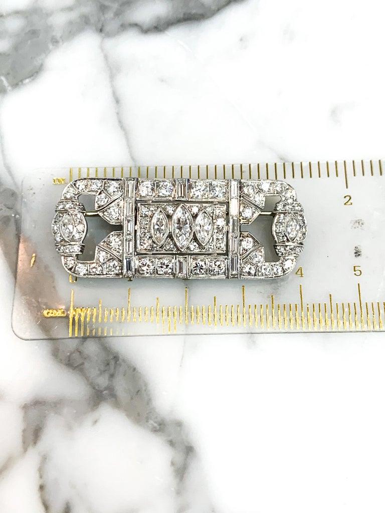 Women's Platinum and Diamond Art Deco Pin For Sale
