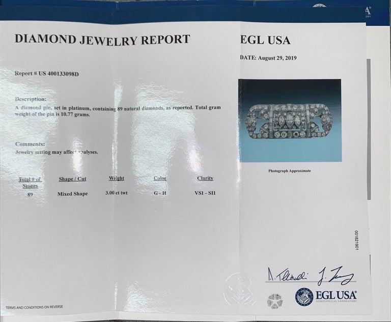Platinum and Diamond Art Deco Pin For Sale 1
