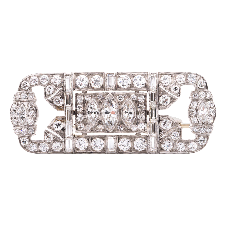 Art Deco Diamond Brooch in Platinum, Circa 1930's