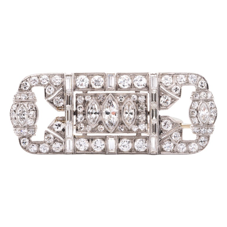 Platinum and Diamond Art Deco Pin For Sale