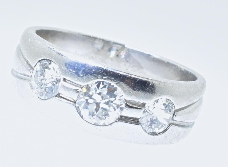 Women's or Men's Platinum and Diamond Band Ring, Art Deco, circa 1935 For Sale