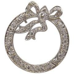 Platinum and Diamond Bow Brooch