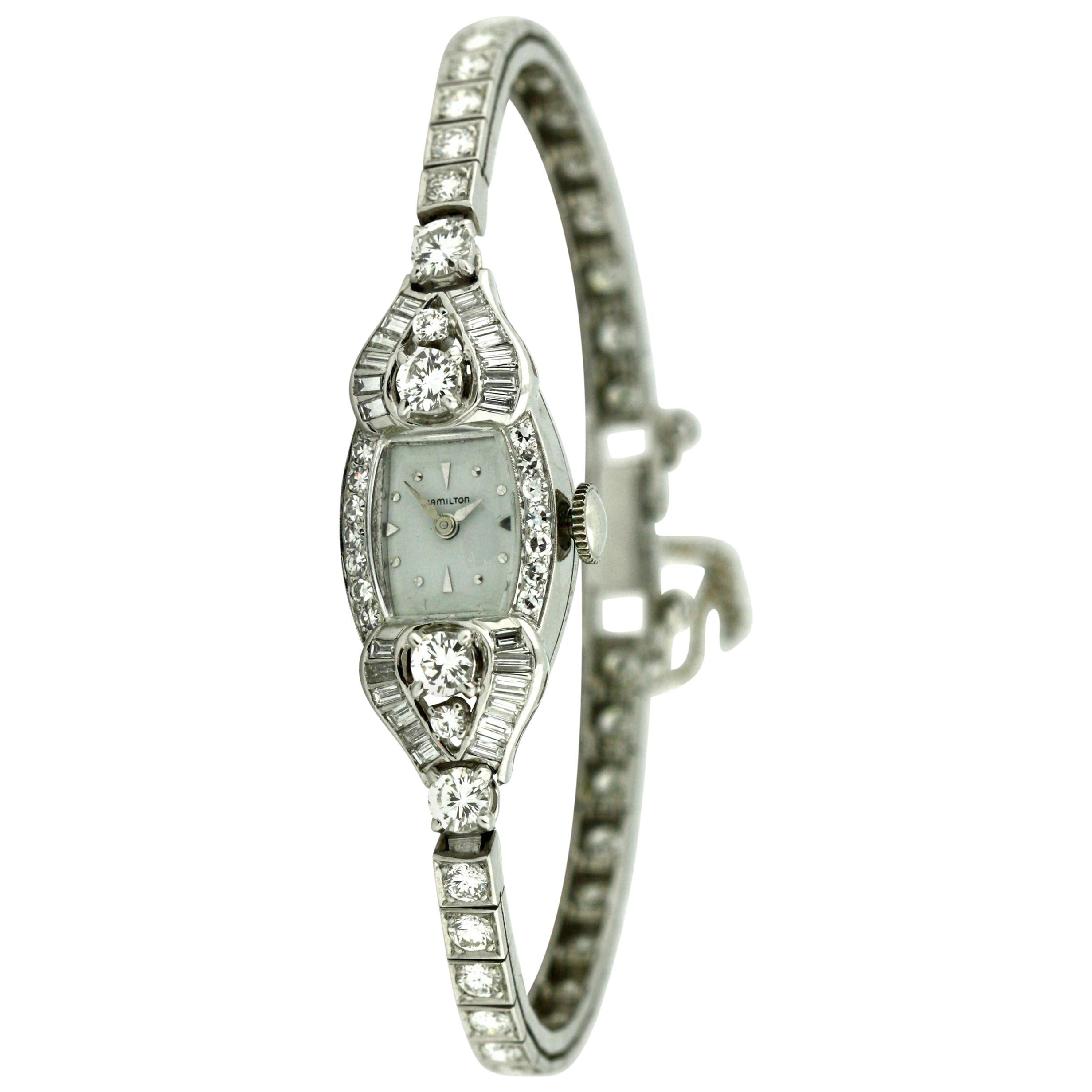 Platinum and Diamond Bracelet Watch Hamilton