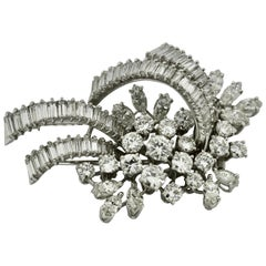 Platinum and Diamond Brooch Set with Baguette and Round-Cut Diamonds