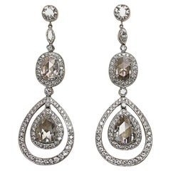 Platinum and Diamond Drop Earrings with Pear and Oval Rose Cut Diamonds