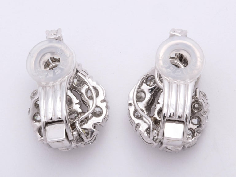 Contemporary Platinum and Diamond Ear-Clip Earrings For Sale