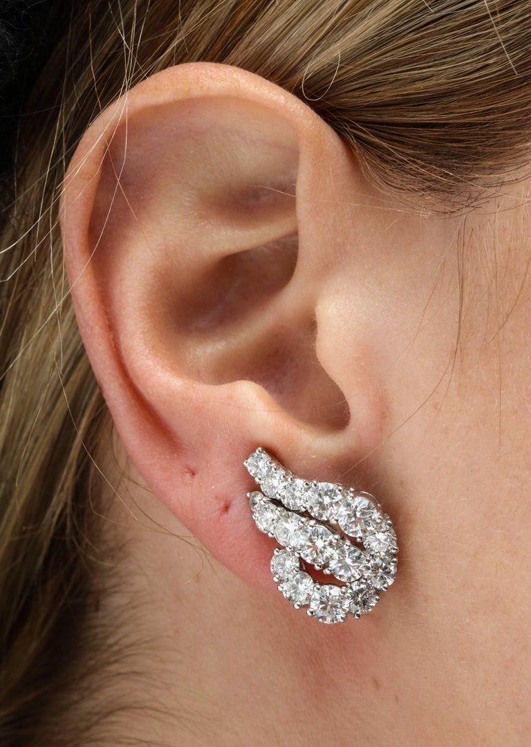 Round Cut Platinum and Diamond Ear-Clip Earrings For Sale