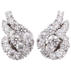 Platinum and Diamond Ear-Clip Earrings