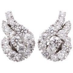 Platinum and Diamond Ear-Clip Earrings