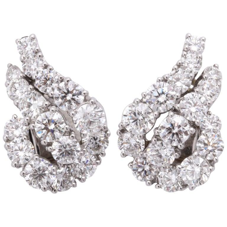 Platinum and Diamond Ear-Clip Earrings For Sale