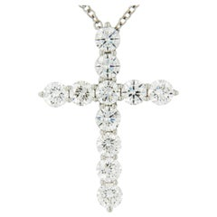 Platinum and Diamond F/G VS Hand Fabricated Cross Necklace