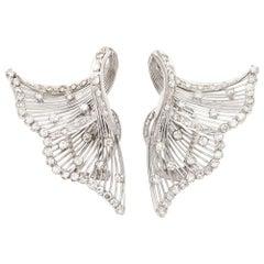 Platinum and Diamond Fan Winged Earrings, circa 1940