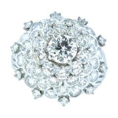 Platinum and Diamond Fine Vintage Handmade Ring, circa 1960
