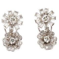 Platinum and Diamond Floral Stud Earrings