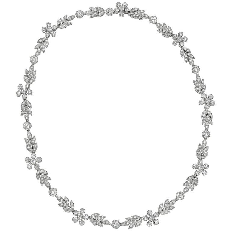 Platinum and Diamond Flower Collar Necklace For Sale