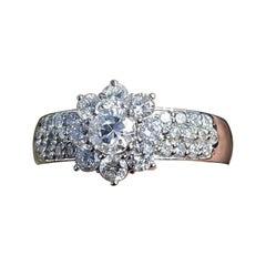 Platinum and Diamond Flower Ring 1.12 Carat 6.1g