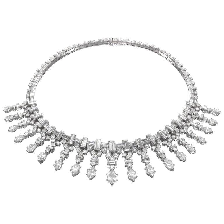 Van Cleef & Arpels Paris platinum and marquise diamond fringe necklace, 1948