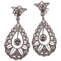 Platinum and Diamond Hanging Earrings
