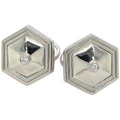 Platinum and Diamond Hexagon Cufflinks