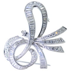Platinum and Diamond Large and Expressive Bow Motif Brooch/Pendant, circa 1950