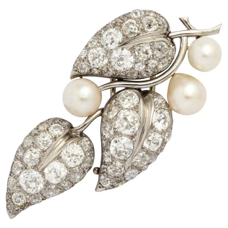"""Belperron Platinum and Diamond """"Leaves"""" Brooch with Letter of Authenticity For Sale"""