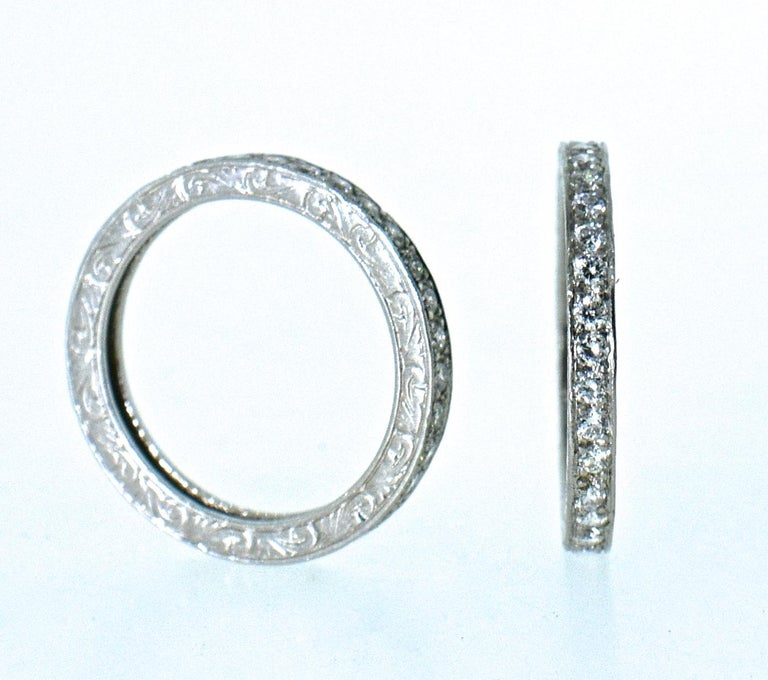 Contemporary Platinum and Diamond Matching Eternity Bands by Michael Beaudry For Sale