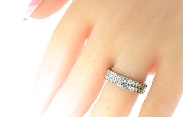 Women's or Men's Platinum and Diamond Matching Eternity Bands by Michael Beaudry For Sale