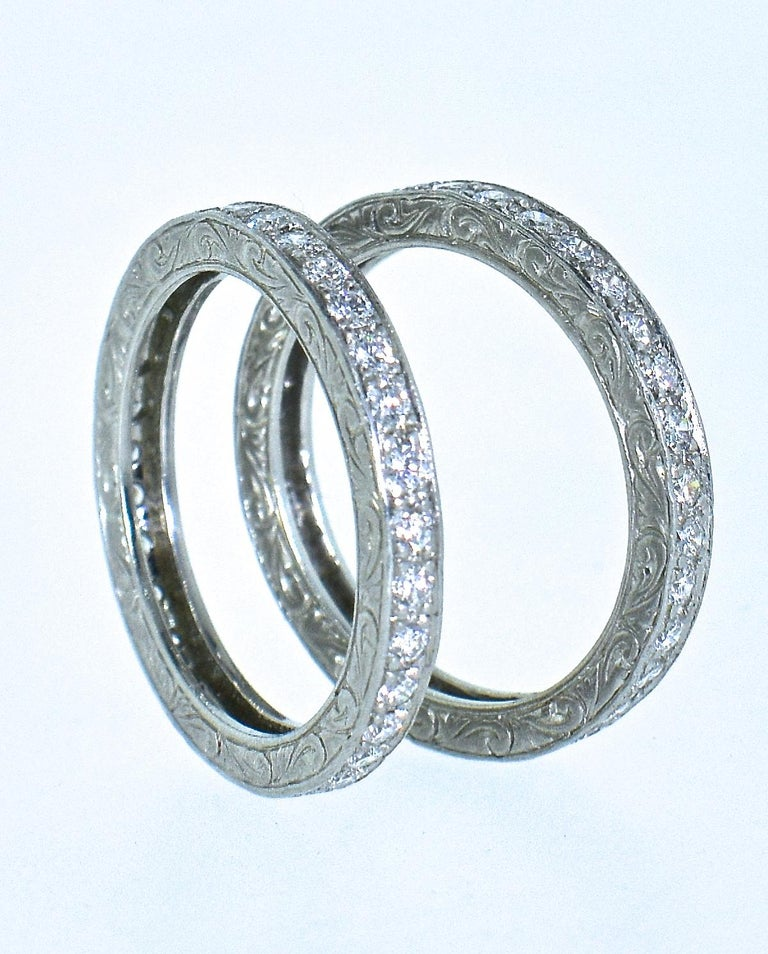 Platinum and Diamond Matching Eternity Bands by Michael Beaudry For Sale 2