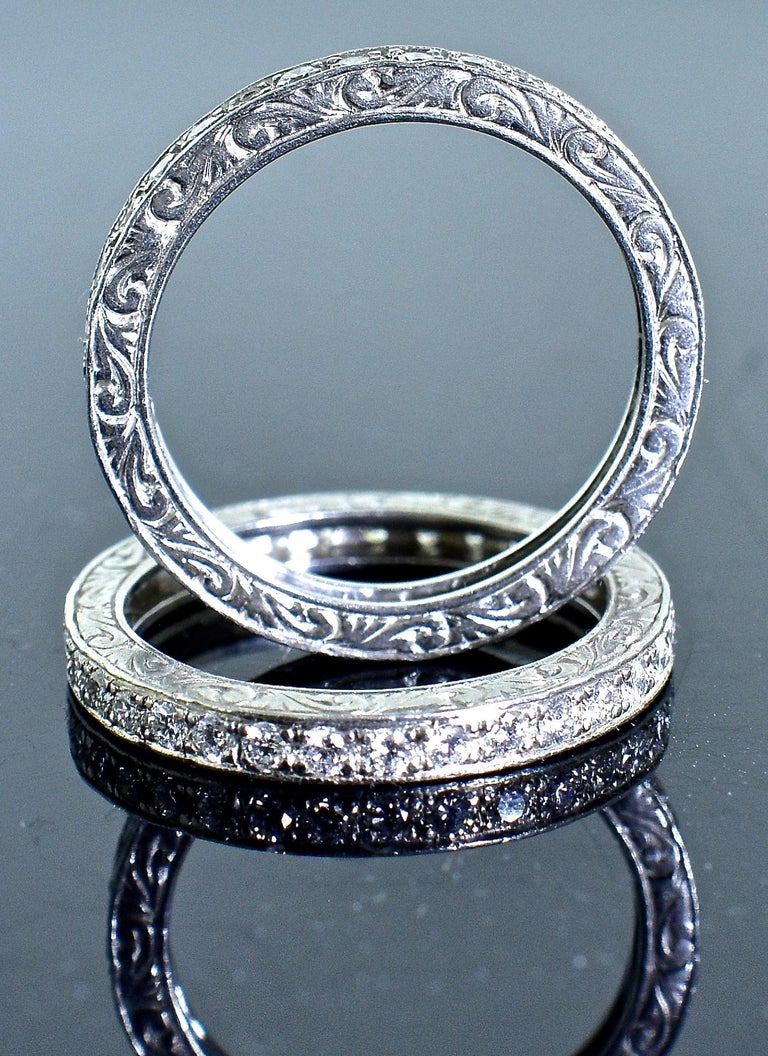 Platinum and Diamond Matching Eternity Bands by Michael Beaudry For Sale 3
