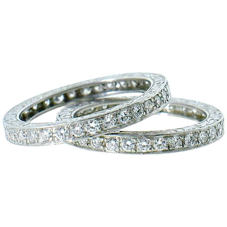 Platinum and Diamond Matching Eternity Bands by Michael Beaudry For Sale