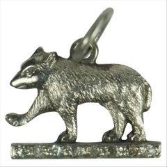 Platinum and Diamond Wolf Charm