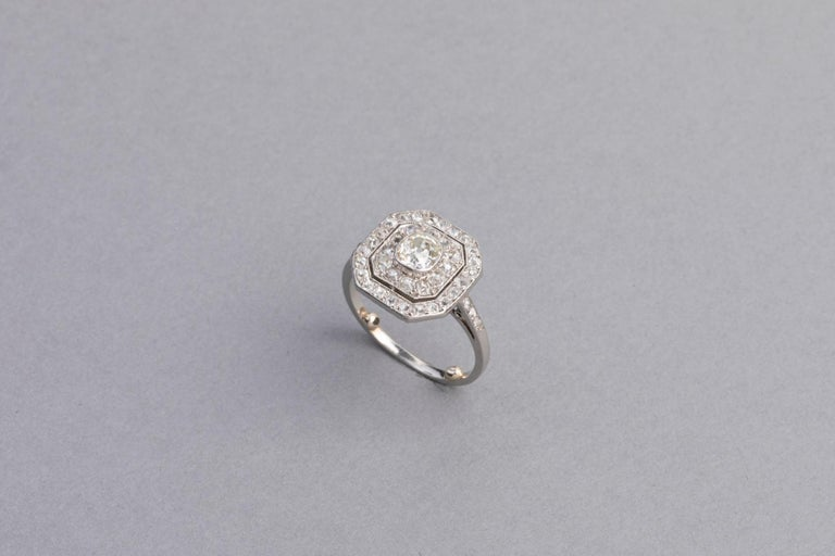 Platinum and Diamonds French Art Deco Ring For Sale 6