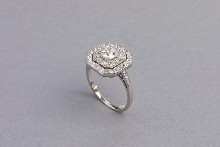 Platinum and Diamonds French Art Deco Ring For Sale 7