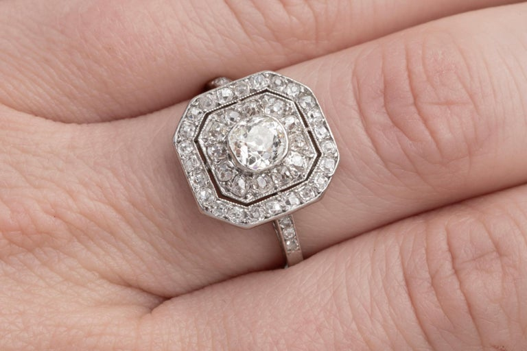Platinum and Diamonds French Art Deco Ring In Good Condition For Sale In Saint-Ouen, FR