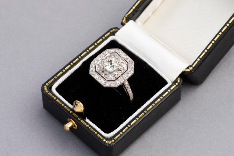 Women's Platinum and Diamonds French Art Deco Ring For Sale