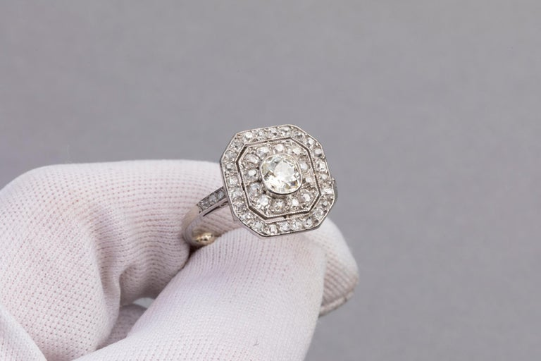 Platinum and Diamonds French Art Deco Ring For Sale 2
