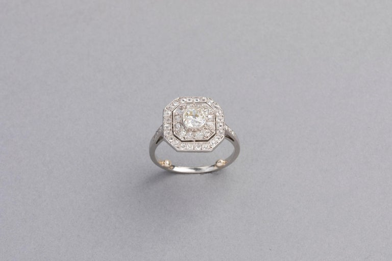 Platinum and Diamonds French Art Deco Ring For Sale 5