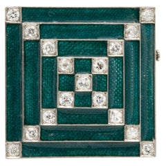 Platinum Square Brooch With 3 Carats of Diamonds & Emerald Enamel