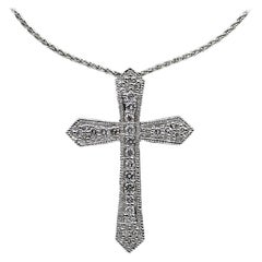 Platinum and Gold 0.50 Carat Round Diamond Cross Pendant Necklace