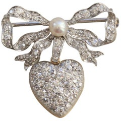 Platinum and Gold Bow and Heart Brooch Diamonds