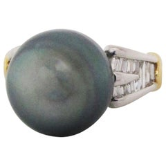 Platinum and Gold Diamond and Tahitian Pearl Ring