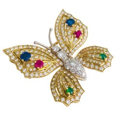 Platinum and Gold Diamond Sapphire Ruby and Emerald Butterfly Brooch